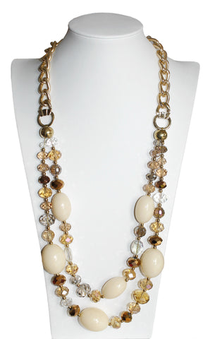 Jewel-Cut Multi-Layer Shape Necklace - Gold/Natural