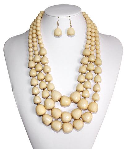 Beaded Multi-Layer Necklace & Earrings - Assorted Colors