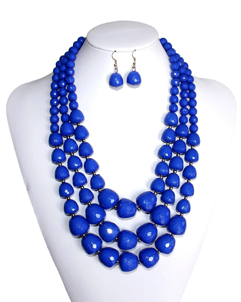 Mr. Song Millinery Beaded Multi-Layer Necklace & Earrings - 2 Colors