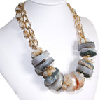 Quartz Stone Necklace & Earrings - Assorted Colors