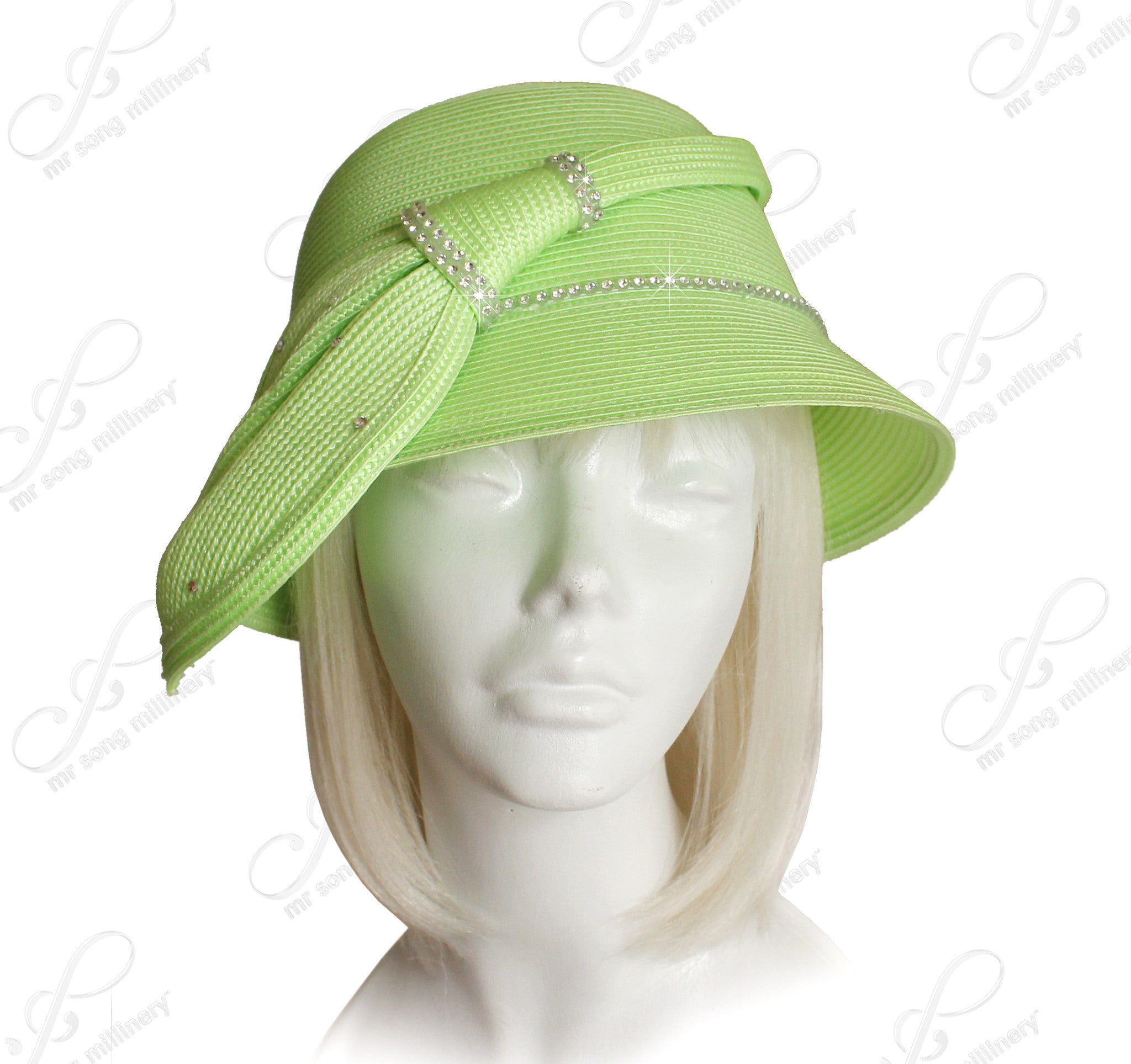 Mr. Song Millinery Bell Cloche Straw-Tagline Bucket Hat - Lime Green
