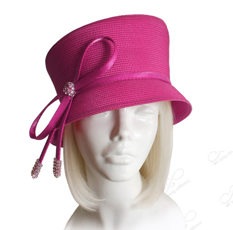 Straw-Tagline Slant-Crown Bucket Cloche Hat With Knot Rhinestone Accent - Red
