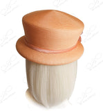 Straw-Tagline Roll Tiffany Brim Hat W/ Organza Flower Accent - Peach