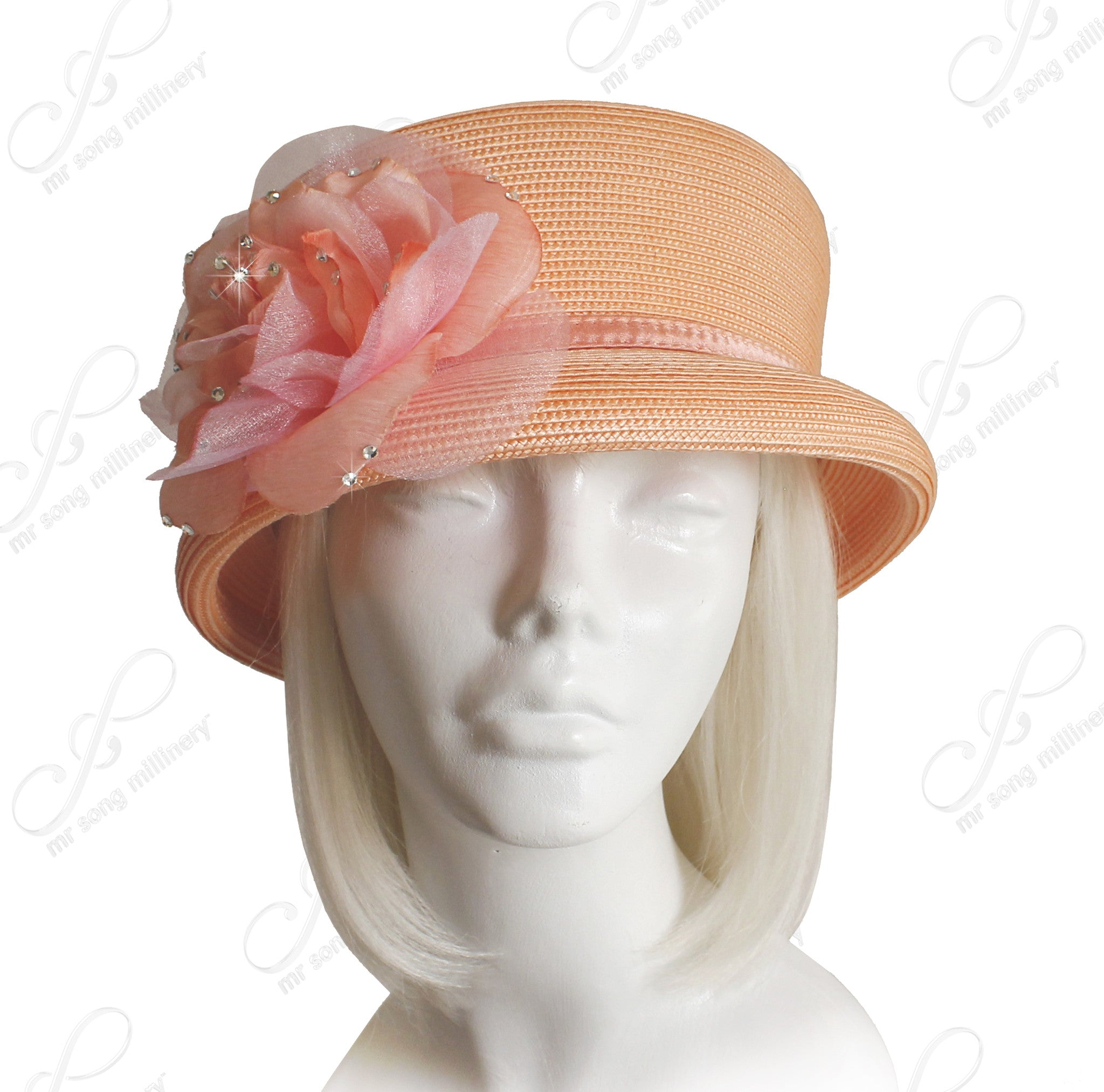 Mr. Song Millinery Straw-Tagline Roll Tiffany Brim Hat W/ Organza Flower Accent - Peach
