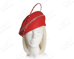 Mr. Song Millinery Tagline Structured Beret Cloche Hat With Crystal Rhinestones - Red