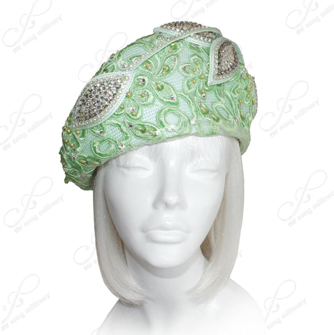 Structured Beret Cloche Summer Hat With Crystal Rhinestones & Premium Lace - Light Green