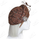 Structured Beret Cloche Hat With Crystal Rhinestones & Premium Lace - Brown