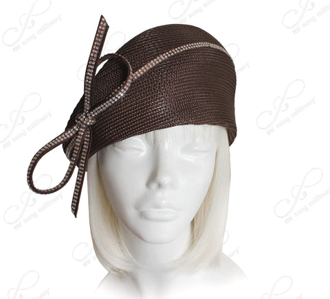 Mr. Song Millinery Tagline Structured Beret Cloche Summer Hat With Crystal Rhinestones - Brown