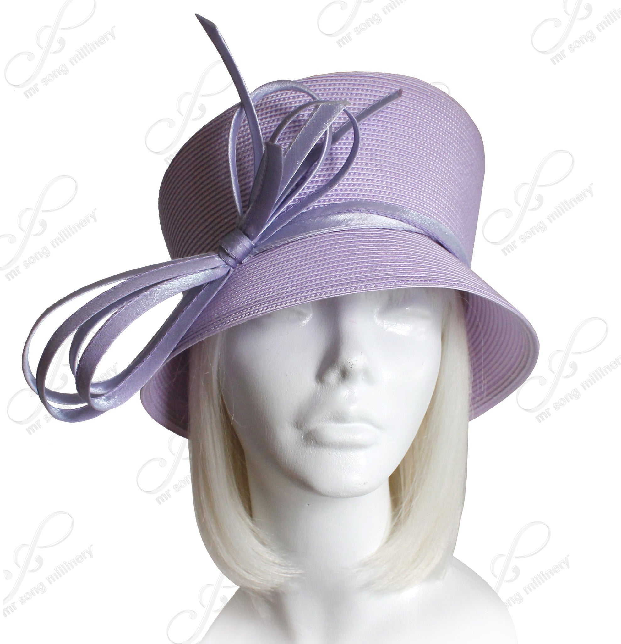 Mr. Song Millinery Slant-Crown Cloche Hat With Custom Knotted Loop Bow - 2 Colors