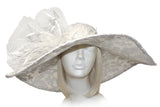 Sinamay & Lace Hat With Siganture Accents - White