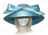 Round Crown Wide Width Tiffany Brim Lace Hat - Aqua Blue