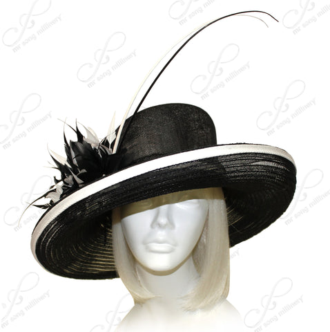 Sinamay & Crin Hair Hat With Premium Feathers - Black/White CLOSEOUT