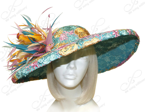 Mr. Song Millinery Royal Ascot Sinamay & Lace Hat-inator With Feathers - Multicolour CLOSEOUT