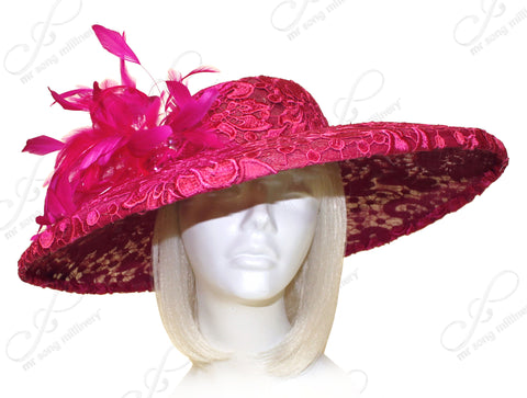 Royal Ascot Sinamay & Lace Hair Hat-inator With Feathers - Raspberry CLOSEOUT
