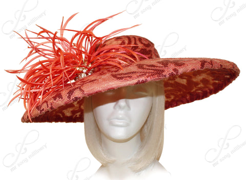 Sinamay & Lace Hair Hat-inator With Feathers - Orange CLOSEOUT