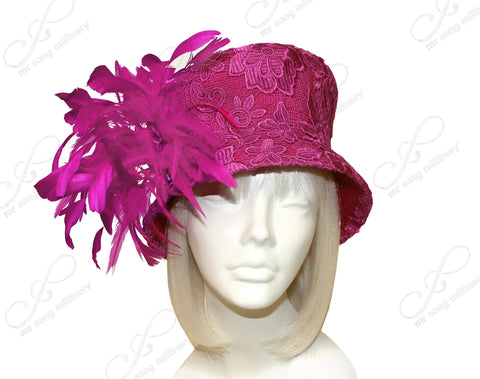 Sinamay Slant Crown Bucket Cloche Hat With Premium Lace - Raspberry Pinnk CLOSEOUT