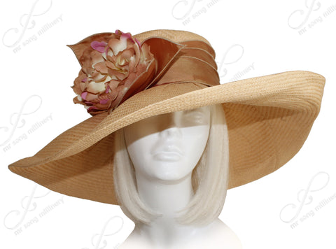 Wide Floppy Brim Sun Hat - Taupe
