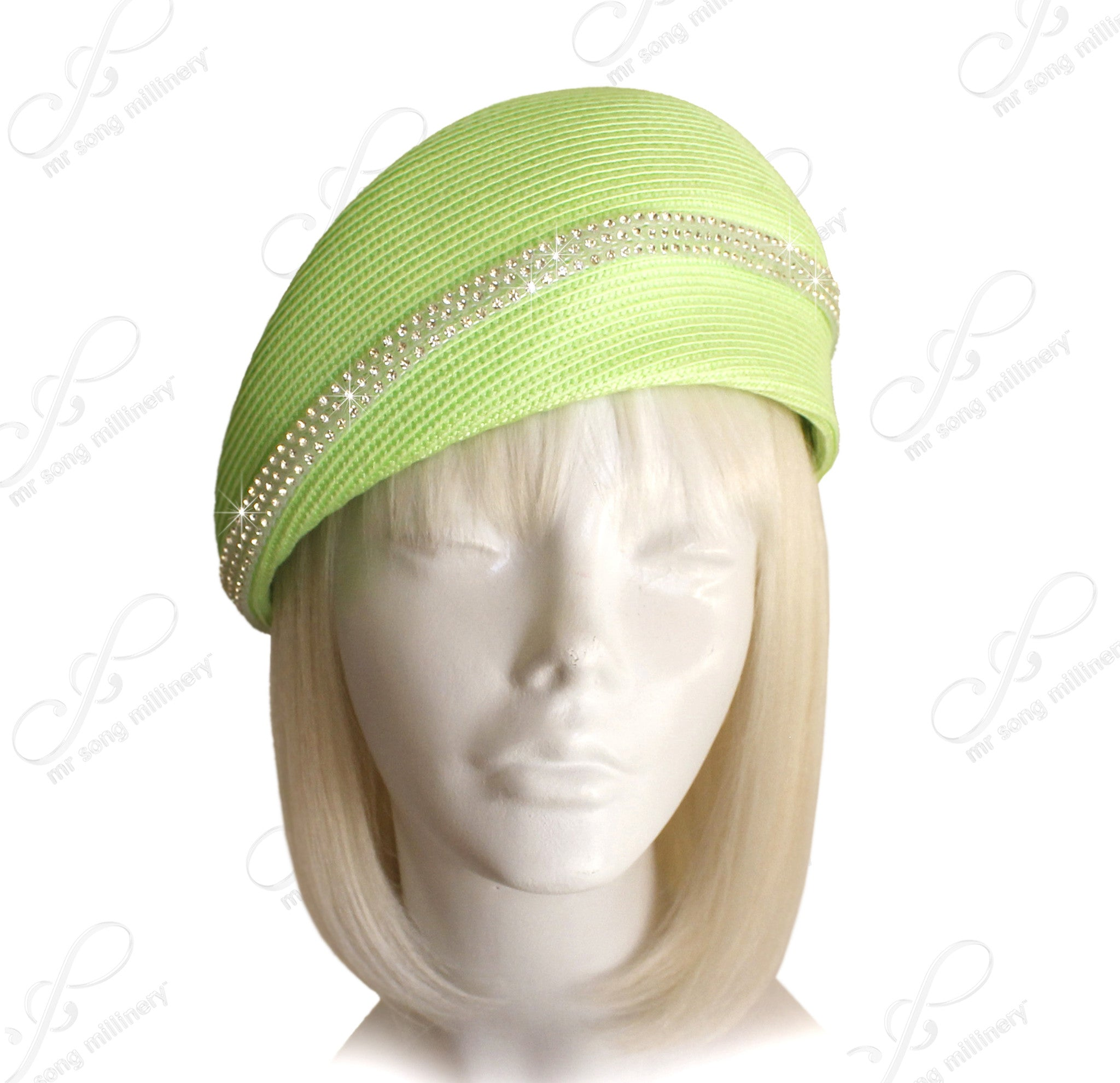 Mr. Song Millinery Beret Cloche Hat With Crystal Rhinestones - Lime Green