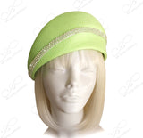 Beret Cloche Hat With Crystal Rhinestones - Lime Green