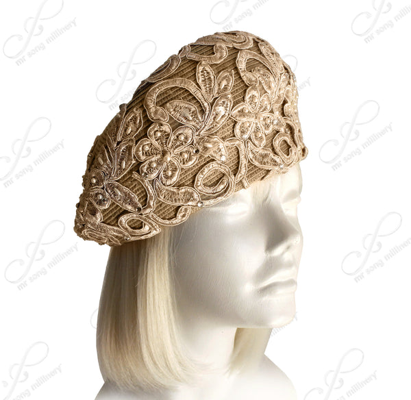 Mr. Song Millinery Beret Cloche Hat With Premium Lace and Crystal Rhinestone Accents - Beige