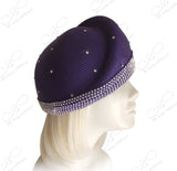 Beret Cloche Hat With Rhinestones - Purple