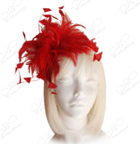 Coque Feather Fascinator Headband - Red