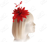 Coque Feather Starburst Fascinator Headband- Red