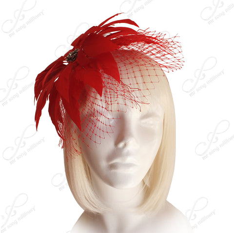 Birdcage Veil Feather Fascinator Headband - Red