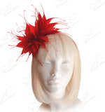 Starburst Feather Fascinator Headband - Red