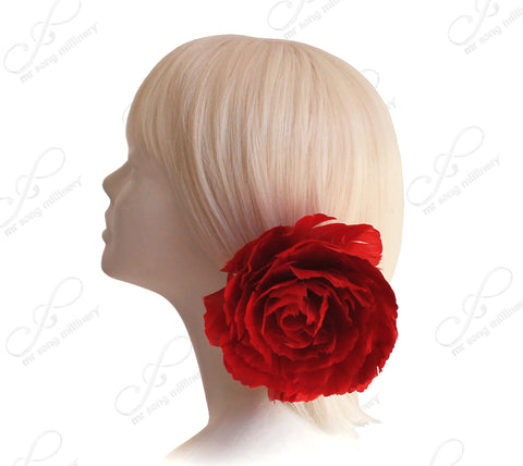 Feather Fascinator Peony Hairclip - Red