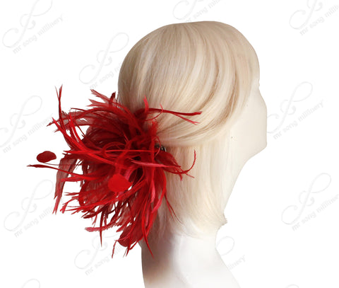 Feather Fascinator Hairclip - Red