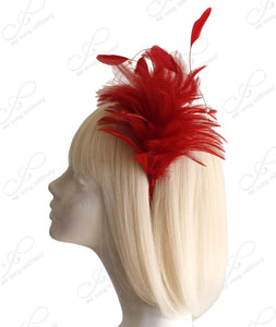Mr. Song Millinery Feather Fascinator Headband - Red