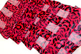 Vibrant Satin Scarf - Animal Print Red