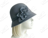 Softest Felt Bell Cloche Bucket Style Hat With Floral Accent - Smoke Blue