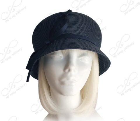 Bubble Cloche Bucket Hat With Loop Bow - 2 Colors