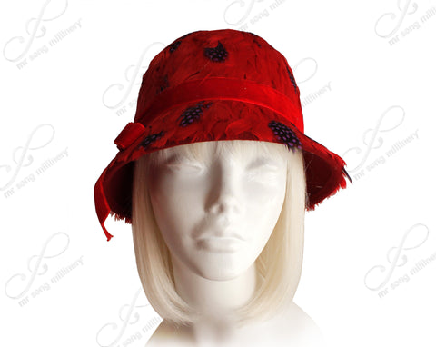 Softest Felt Bell Cloche Bucket Style Hat - Red