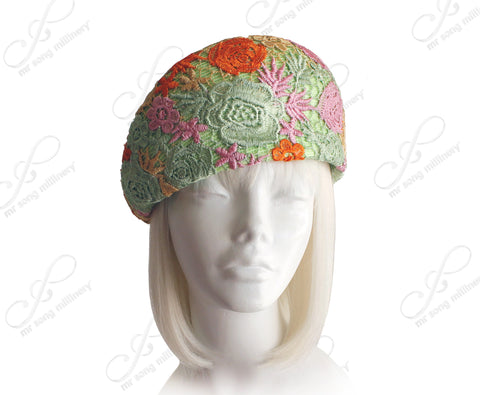Tagline Beret Cloche Hat With Premium Lace - Multicolour