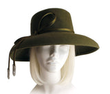 Felt Tiffany Brim Hat With Ribbon Accent - Olive Green