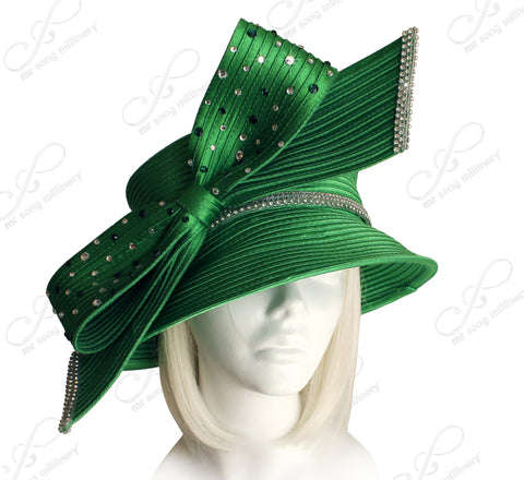 Medium Width Brim Hat With Rhinestoned Bow - Emerald Green