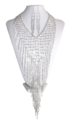 Crystal Bib-Tassel Necklace Jewelery & Earrings