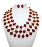 Cabochon Necklace & Earrings Jewelry Set - Assorted Colors