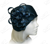 """Juliet"" Cloche Skull Hat With Ribbon Flower Accent - Assorted Colors"