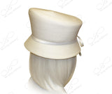 Straw-Tagline Slant-Crown Bucket Cloche Hat W/ Knot Rhinestone Accent - 3 Colors