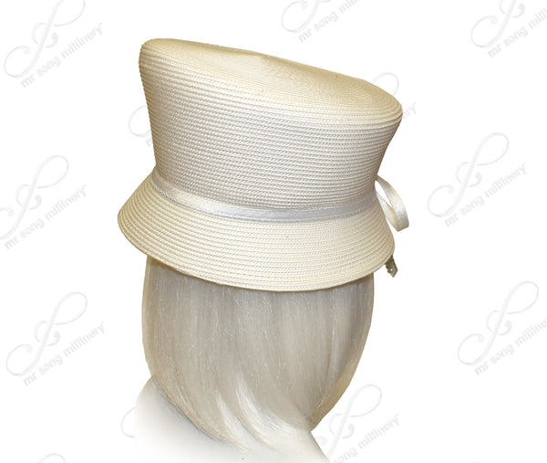 Mr. Song Millinery Straw-Tagline Slant-Crown Bucket Cloche Hat W/ Knot Rhinestone Accent - 3 Colors
