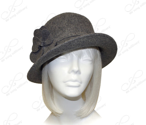 Softest Felt Bucket Fedora Cloche Hat With Bias Brim - Heather Gray