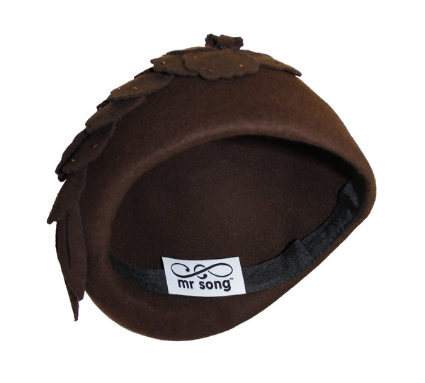 Mr. Song Millinery Felt Cloche Hat With Floral Accent - Brown