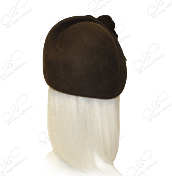 Mr. Song Millinery Softest Felt Cloche Hat With Floral Accent - Brown