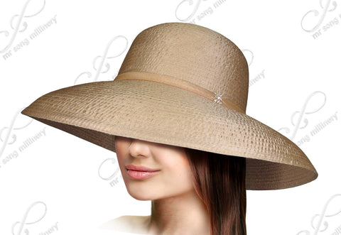 Lamp Shade Wide Brim Hat With Rounded Crown