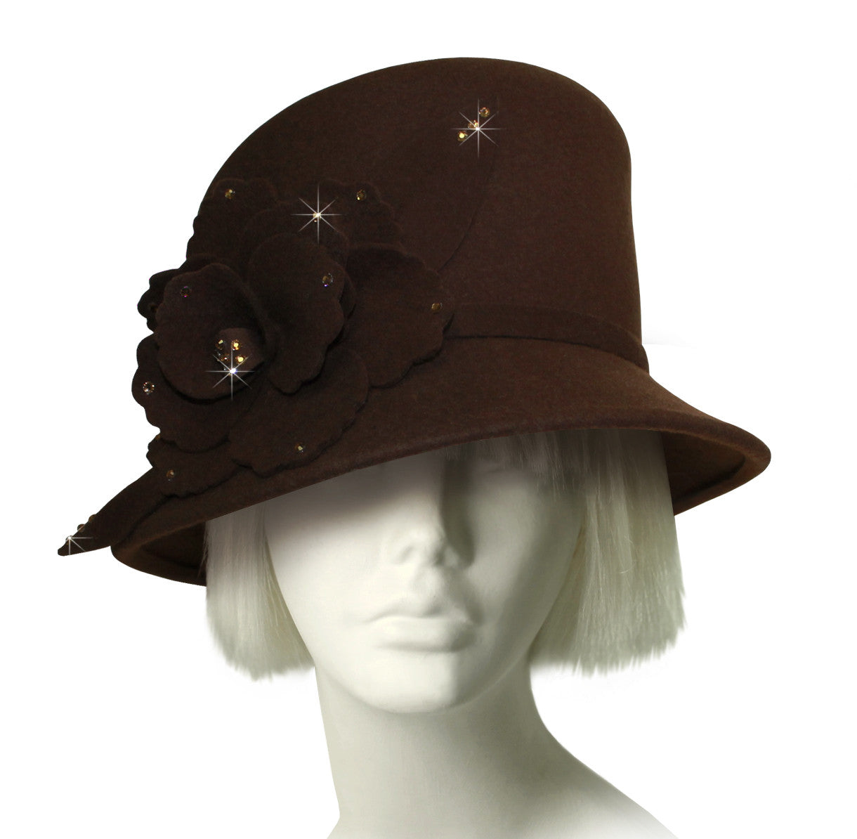 Mr. Song Millinery Beautiful Bucket Style Hat In Luxuriously Soft Felt - Brown