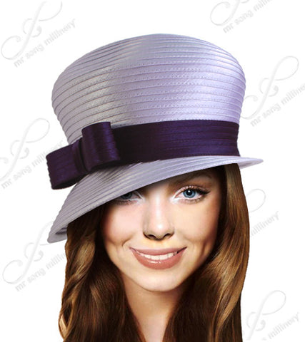 Bubble Cloche Slant Brim With Bow Hat - 3 Colors